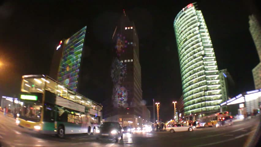 "OCTOBER 13, 2014 - BERLIN: time lapse video: traffic and video effects and illuminations of the Potsdamer Platz at the ""Festival of Lights 2014"", Potsdamer Platz, Berlin."
