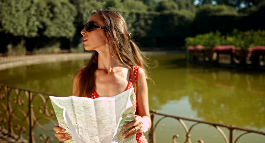Pretty Tourist Woman Walking Europe Park Directions Map