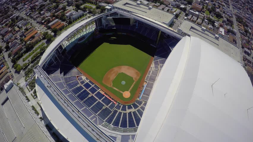MIAMI - OCTOBER 17: Aerial 4k video of the Marlins Stadium in Miami FL. Marlins Stadium is home to the Florida Marlins Baseball team October 17, 2014 in Miami USA.  - 4K stock footage clip