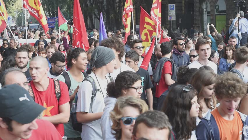 MILAN, ITALY - OCTOBER 18: manifestation held in Milan october 18, 2014. People took streets to protest against racism, war and against lega nord, right wing politic italian movement - HD stock video clip