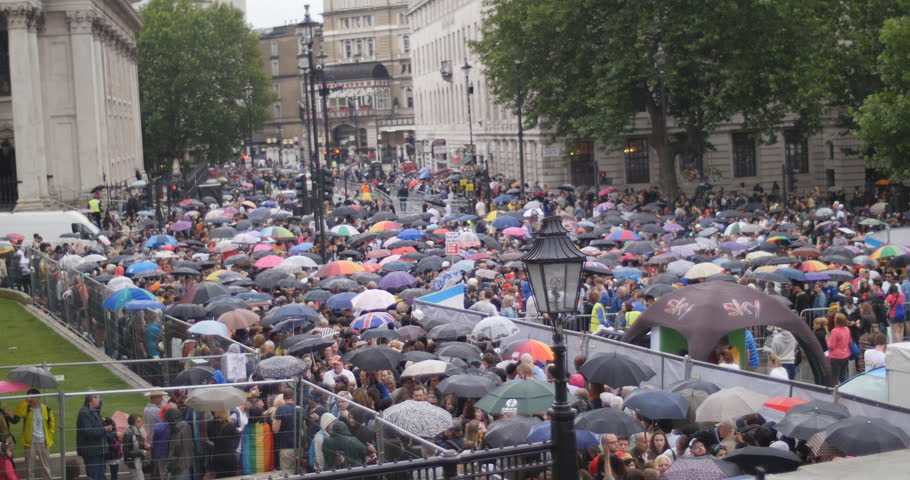 Hundreds of umbrellas at London Gay Pride. On Saturday 28th June, more than thirty thousand people participated in the 'Freedom to Parade' , the biggest Pride in London Parade ever.   - 4K stock video clip