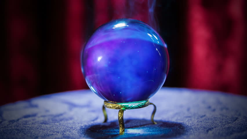 Magic Crystal Ball On A Table/ Fortune Teller Crystal Ball ...