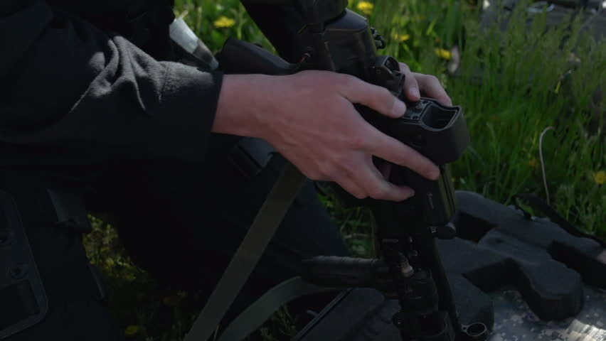 police Tactical team checking weapon - HD stock video clip