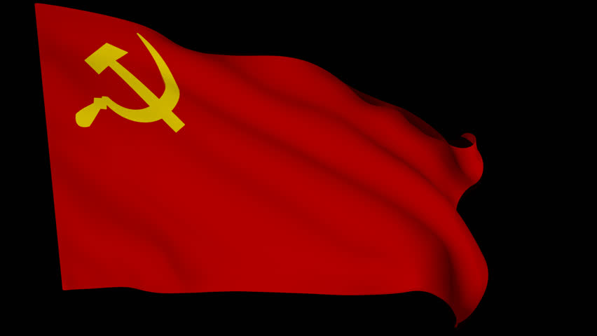 realistic 3d seamless looping ussr national flag waving in