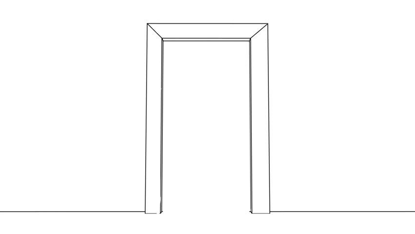 Sketched Door Opens: Making Opportunities Happen - HD stock video clip