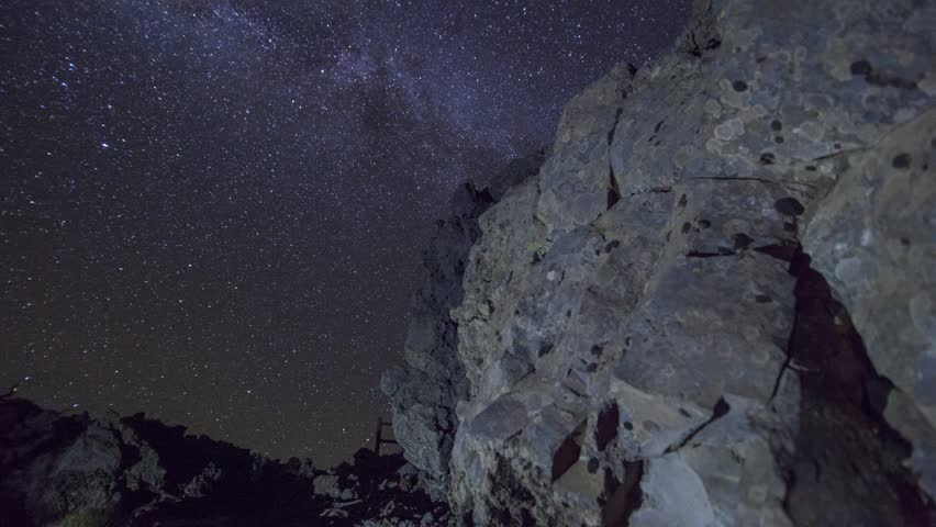 Night Sky Milky Way Timelapse with dolly movement and rocks on La Palma, Canary Islands, Spain.