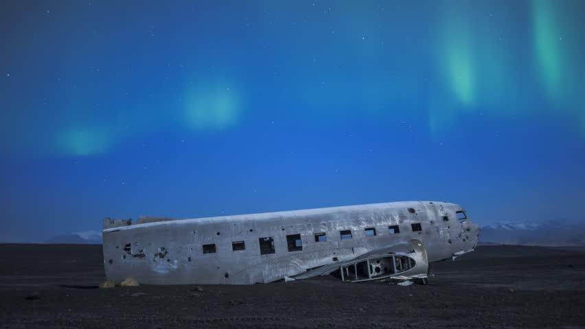 Timelapse footage of Plane wreck at Solheimasandur with Aurora