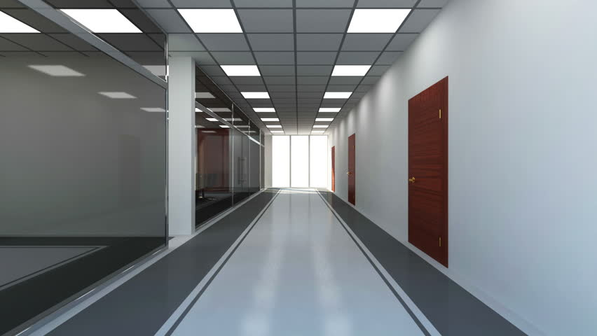 Animation of Modern Empty Office 3D Interior. Camera Flying from Corridor to Meeting Room. HQ Video Clip