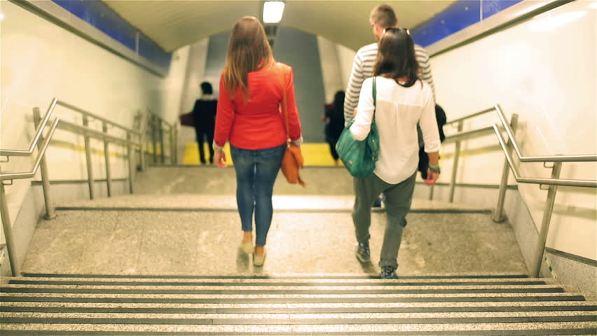 People going down to the metro station    Shutterstock HD Video #7796197