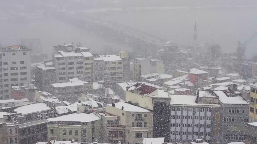 High angle view from Galata Tower of snow on the rooftops at old city of Istanbul