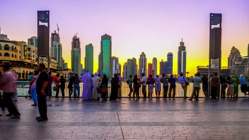 4K TimeLapse - 25 november 2012, Sunset view Dubai fountain show from Burj Khalifa, Dubai | Shutterstock HD Video #7812640