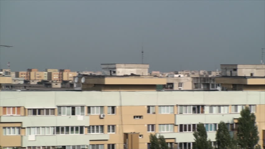 Aerial View Of Bucharest, Summer Morning, Old Apartment Buildings, Roofs, Pan - HD stock footage clip