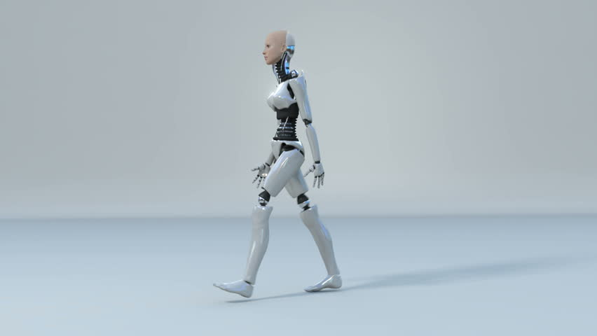 Robot Android Woman Dancing Beautiful 3d Rendering With ...