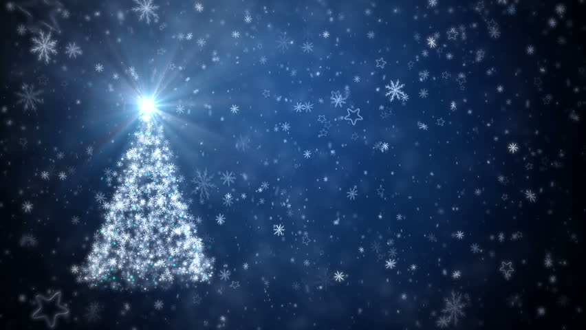 Growing New Year tree with falling snowflakes and stars - HD stock footage clip