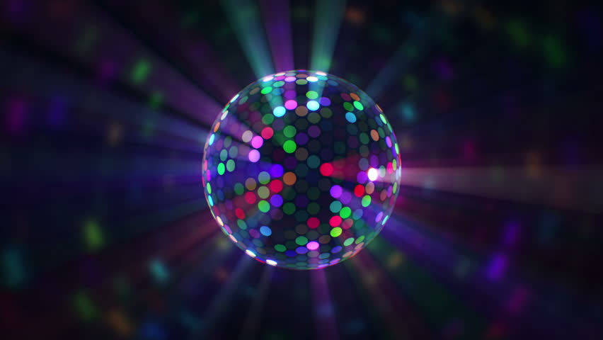 Close Up Of Colored Lights Flashing On Rotating Disco Ball