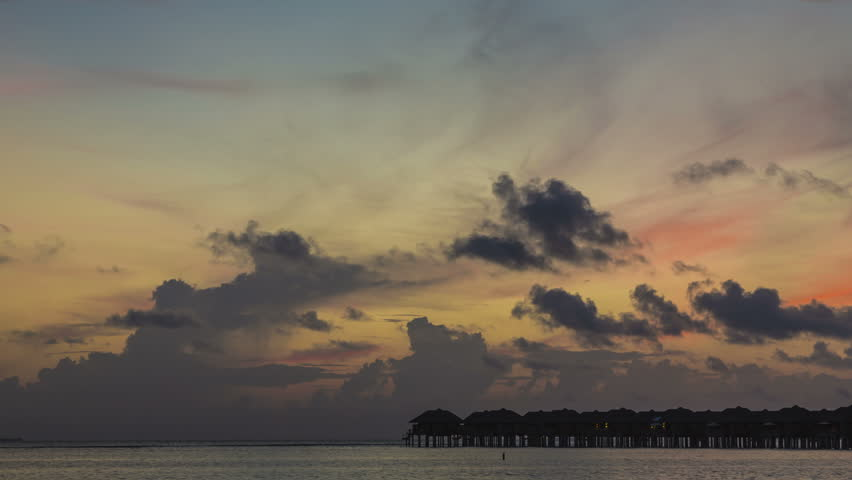 4k Timelapse. Sunrise in Maldives.