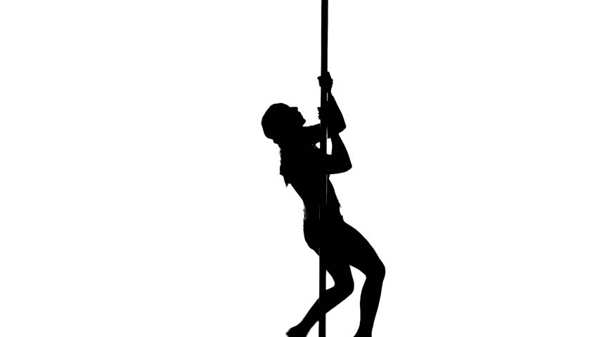 One caucasian woman pole dancer dancing in silhouette studio isolated on white background. | Shutterstock HD Video #7883524