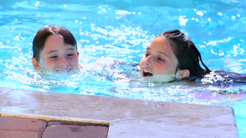 Boy in swimming glasses swims in blue pool only with his - Female only swimming pool melbourne ...
