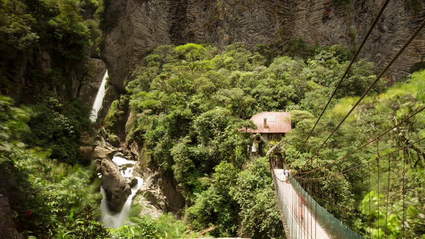 Tourists Come And Go, Pailon Del Diablo Waterfall Ecuador, Camera Pans Left Right And Zooms Out  - 4K stock video clip