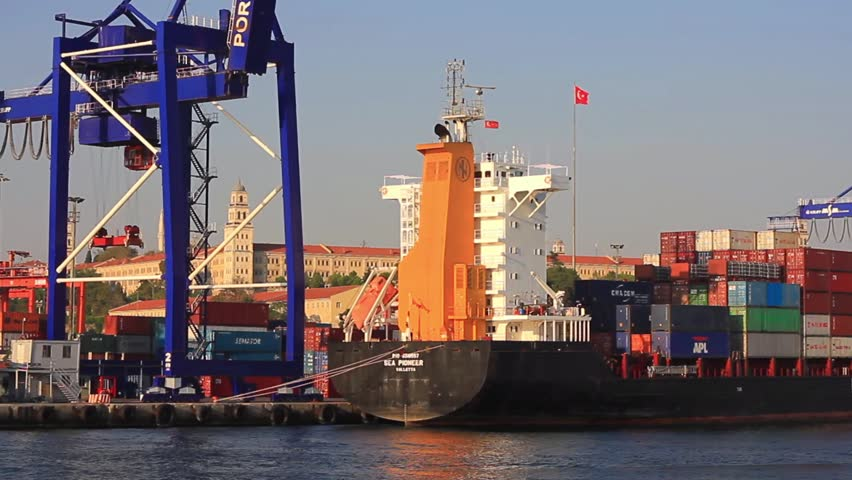 ISTANBUL - AUG 26, 2013: Container Ship SEA PIONEER (Flag: Malta) under loading in port. A 148 mt long, 23 mt width vessel, launched into the sea in 2005 and has a 14,003 DWT