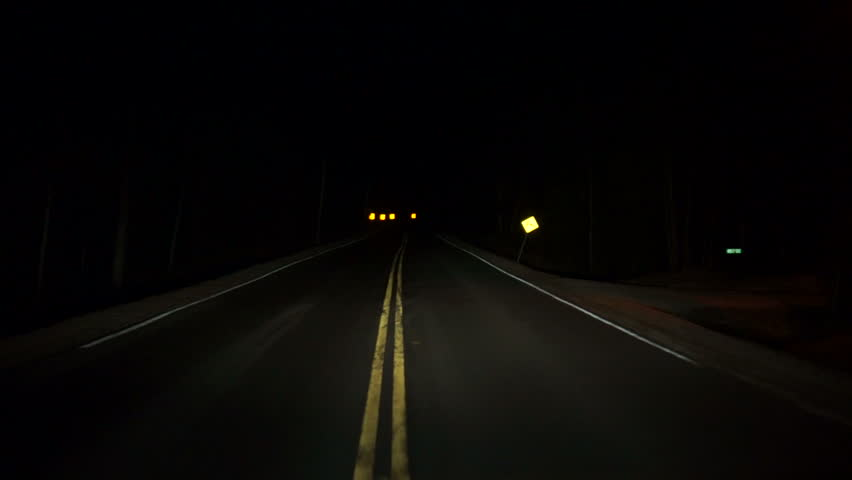 Driving Down Rural Highway In Pitch Black Night Timelapse ...