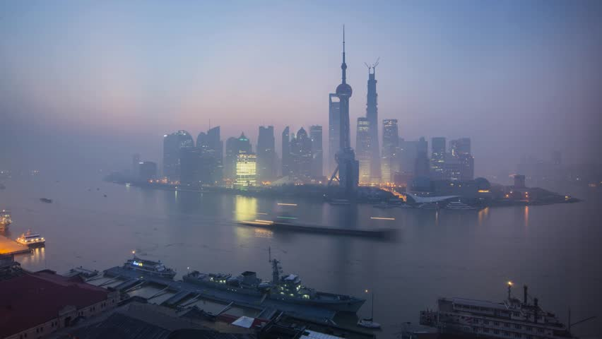China, Shanghai, Pudong District, Huangpu River, Financial ...