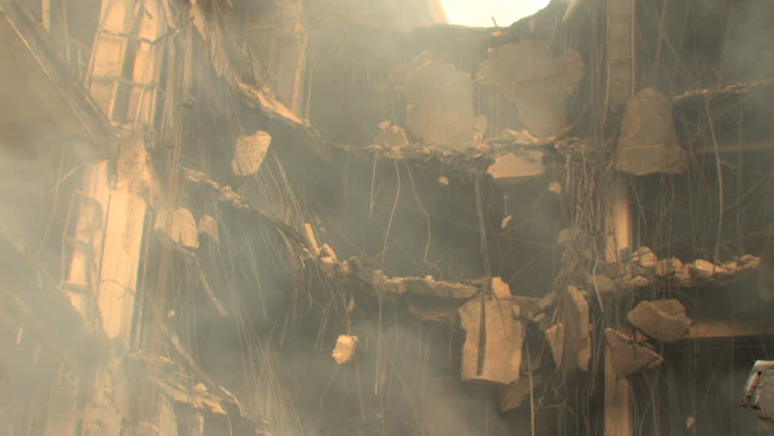 Smoking Ruins of Destroyed Building - HD stock footage clip
