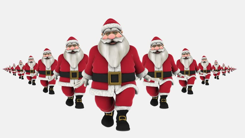 Group of Santa Claus are Hip Hop Dancing, waving at end. isolated, Transparent video, alpha matte included at end, Full HD | Shutterstock HD Video #7920946