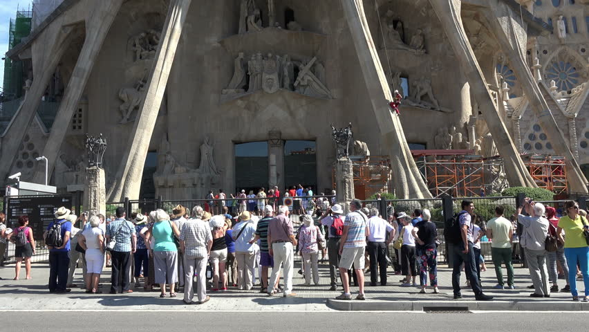 BARCELONA, SPAIN - SEPT 2014: Barcelona Spain Sagrada Familia construction climb. Roman Catholic church in Barcelona, Spain, designed by Catalan architect Antoni Gaud. Construction began in 1882.