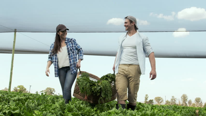 Young happy farming couple carrying basket full of produce on their farm