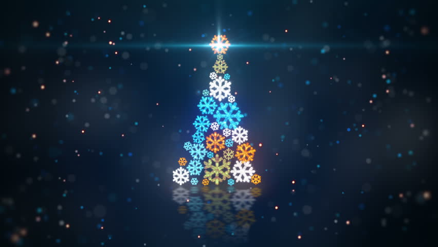 Blue orange christmas tree shape of glowing snowflakes. computer generated seamless loop abstract motion background