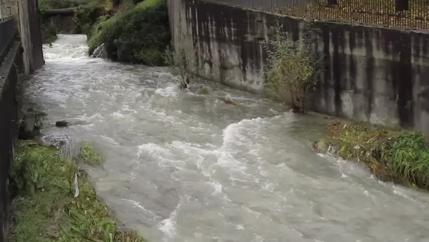 little river after heavy rainfall 3 - hd video - HD stock video clip