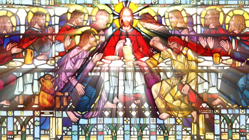 Sun shining through a stained glass roof  with the The last supper (Seamless Loop) - HD stock footage clip