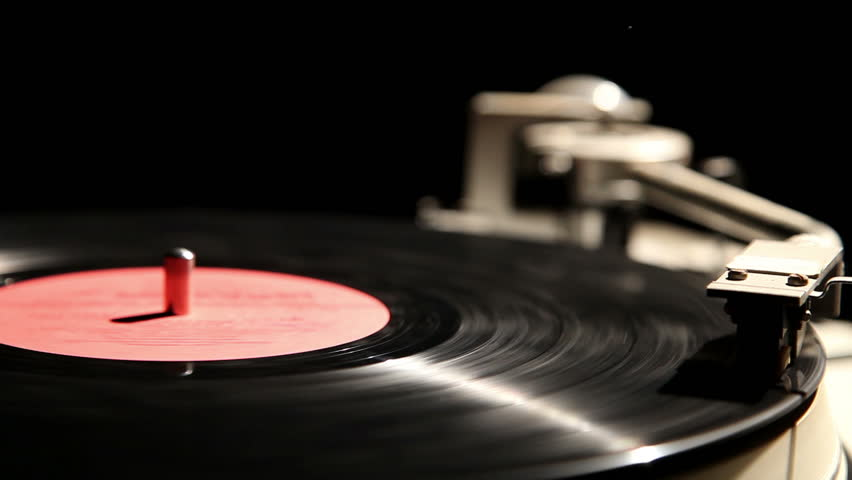 Gramophone Record On A Black Background Close Up 2 Stock
