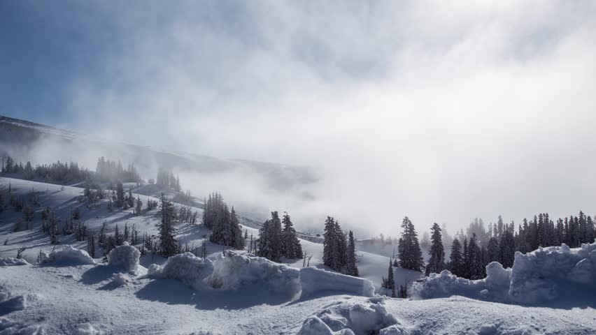 Time lapse of clouds movements on a snow mountain
