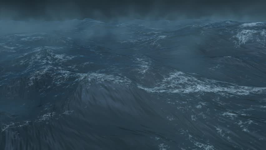 High quality 3D render of stormy ocean, extremely realistic, created using Maya and Digital Fusion. - HD stock footage clip