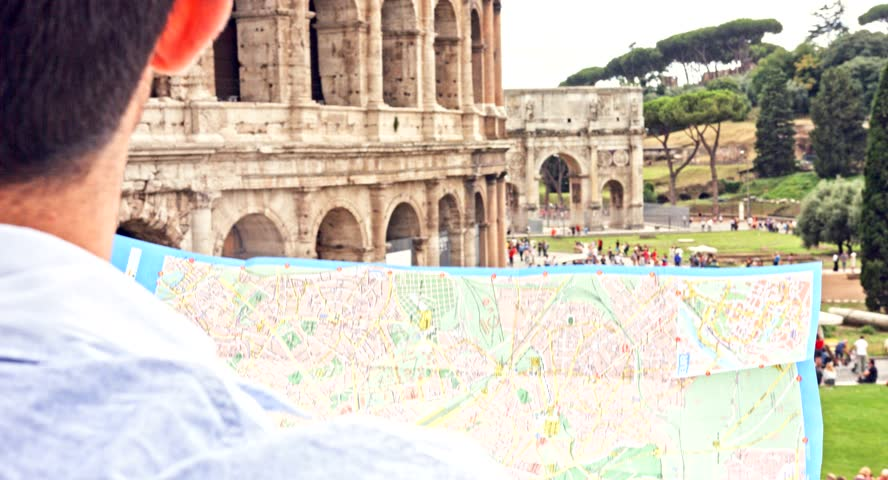 Tourists And Roman Maps Timelapse Rome Italy 2012 – Map Of Rome For Tourists