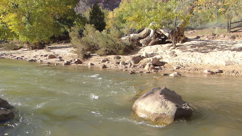 A river flowing in Zion National Park, Utah, USA.  With natural sound and 1080p High Definition Video.