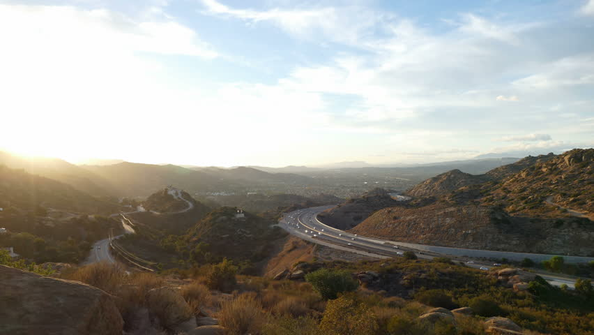 Dusk to night time lapse zoom of the 118 freeway between Los Angeles and Simi Valley, California.  | Shutterstock HD Video #8010586