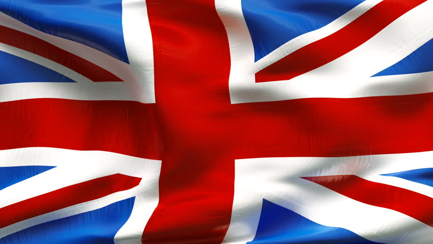 Textured GREAT BRITAIN  satin cotton flag with wrinkles and seams - HD stock video clip