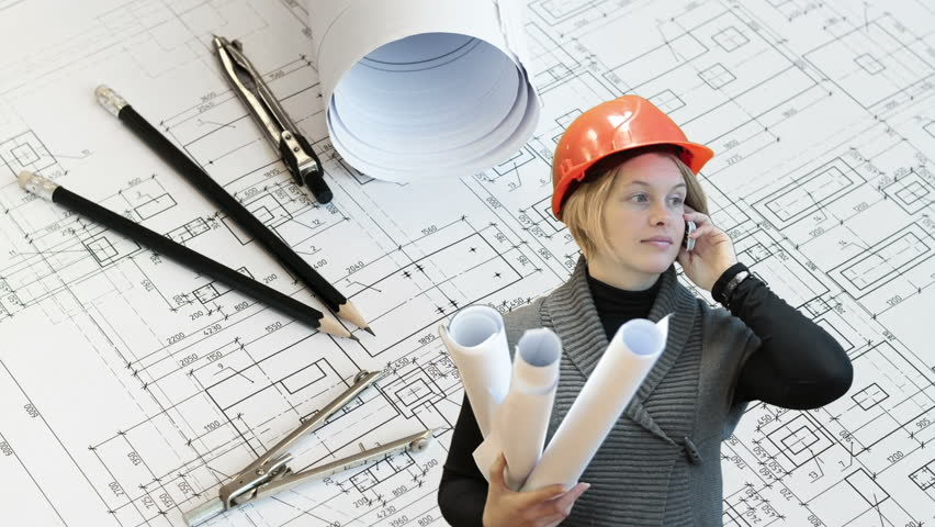 Woman architect talking with phone and holding blueprints for Architect at work