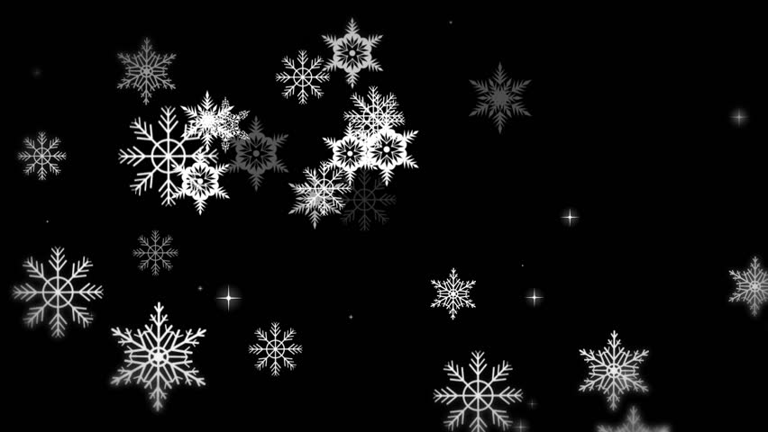 black and white snow flakes looping animated background