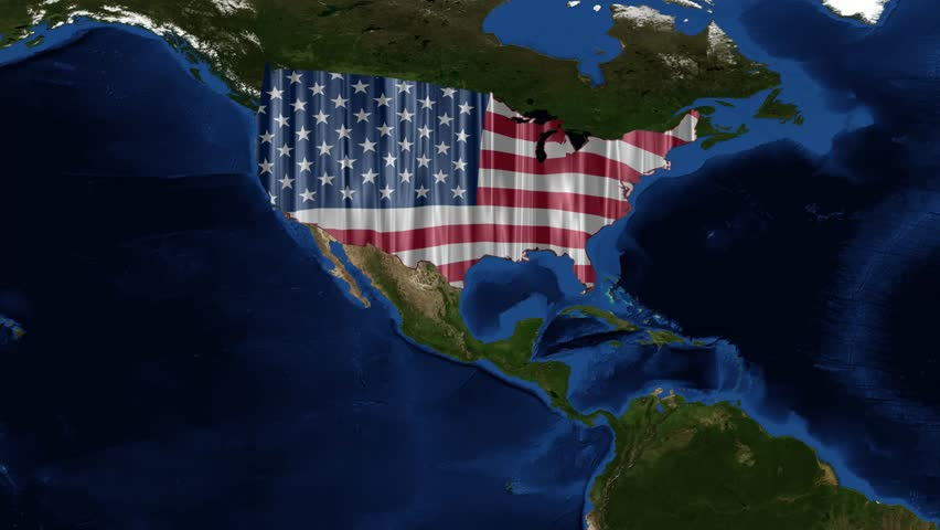 Usa Map And American Flag From Space The United States