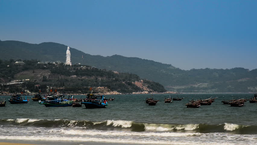 Plenty of fishing boat floating on the sea, Danang, Vietnam