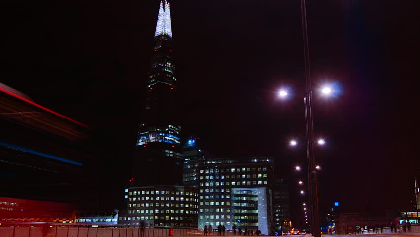 LONDON - Aug 10 2014: London skyline on Thames river with Shard in the background. Completed in 2012, it is the tallest building in the European Union. time lapse view,4k - 4K stock footage clip