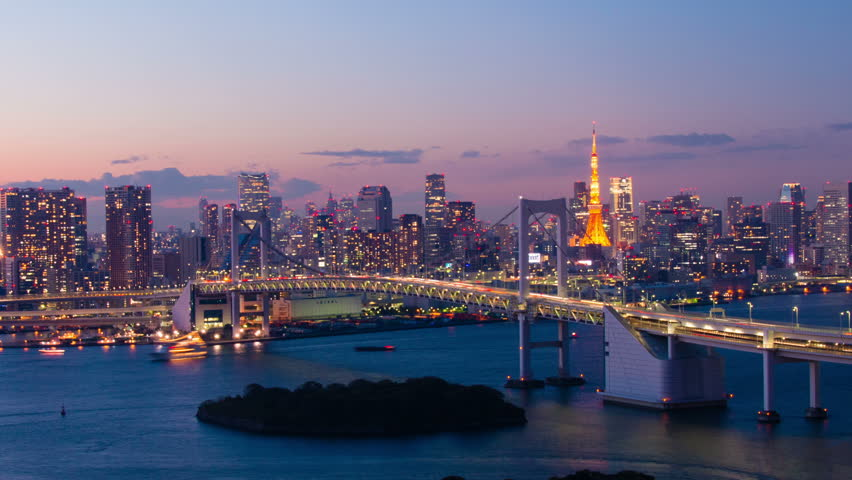 Tokyo Bay at Rainbow Bridge night view time lapse | Shutterstock HD Video #8086645