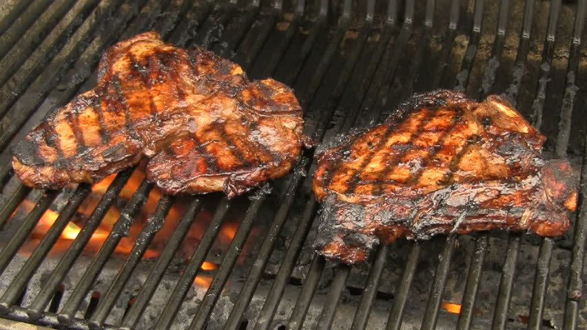 Flames Consume Burgers Cooking On Barbecue Grill ...