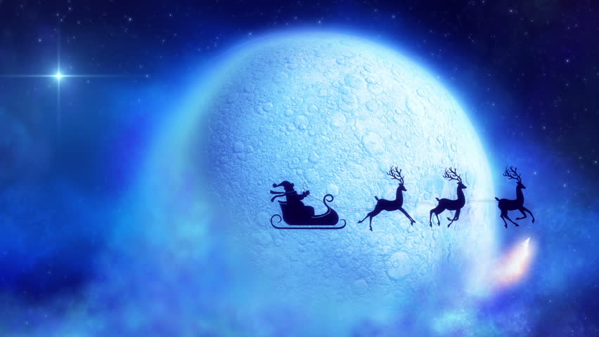 flying santa sleigh by reindeer at night moon closeup