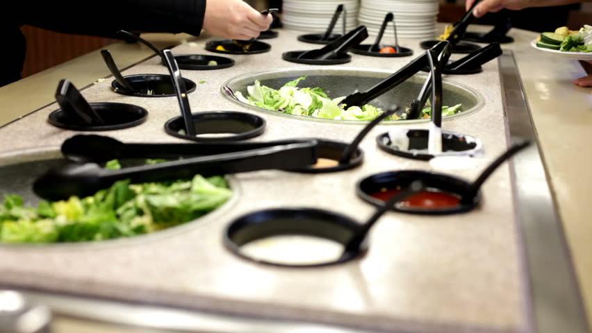 Salad Bar at restaurant - HD stock video clip