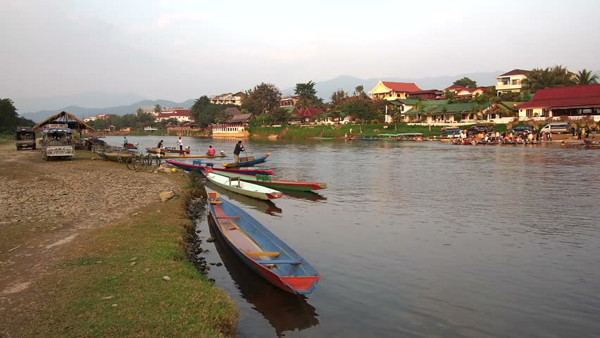 General view of the Nam Song river in Vang Vieng, Vientiane Province, Laos. - HD stock video clip